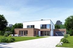 Haus mit Pultdach und Garage am Tag